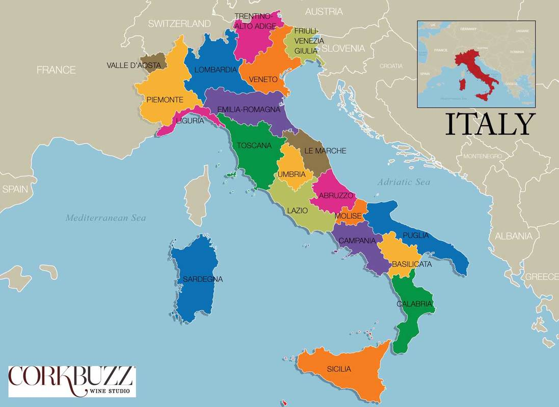 Map Of Italy In Italian.Map Of 20 Italian Regions Grand Voyage Italy