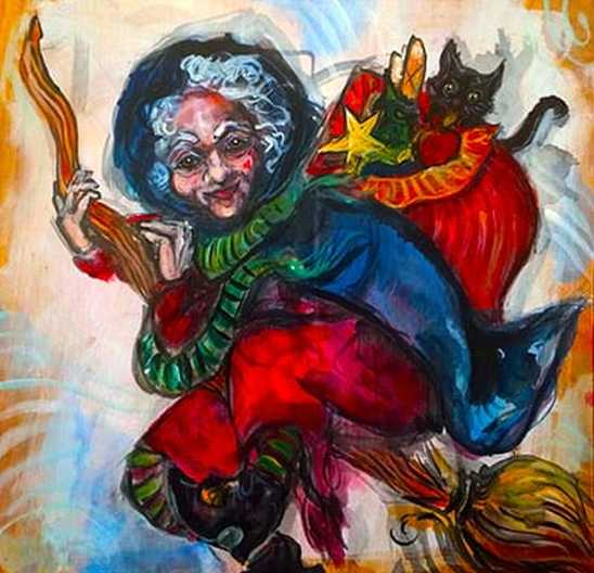 such a witch on a flying broom would strike fear in the hearts of most children but not in italy - Italian Christmas Witch